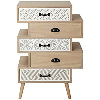 Casa Collection – Mueble cajonera de 5 cajones Serie Safari Retro Vintage Madera Natural: Amazon.es: Hogar