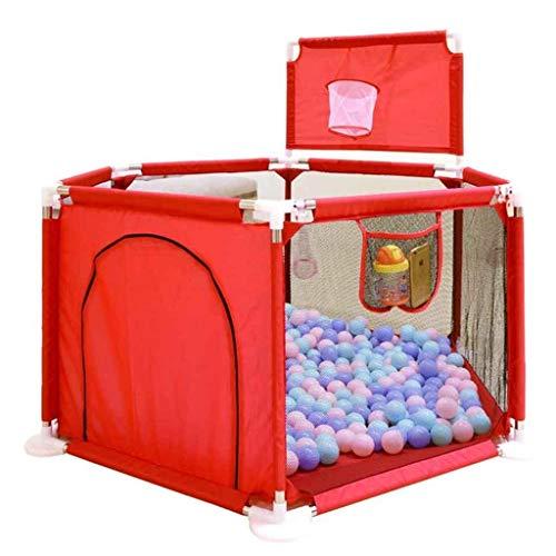 Parque Infantil de bebé portátil Hexagonal Océano Juguetes Ball Pool Juego Yard Vallas de protección del hogar Centro de Seguridad del niño con los niños del aro de Baloncesto (Color : Red)