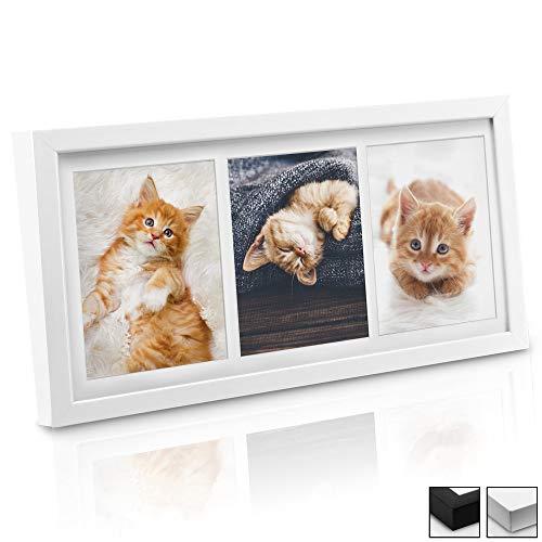 bomoe Bilderrahmen Galeria für 3 Fotos 13x18 cm - Fotorahmen aus Holz, Plexiglas, Metall-Aufhängung & Passepartout Multirahmen für Bilder Collagen - Weiß