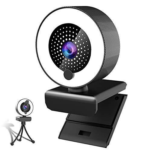 MHDYT 2K Webcam mit Mikrofon und Ringlicht HD Facecam mit Abdeckung und Stativ für PC/MAC/Laptop/Desktop,USB Web Cam Streaming für YouTube,Skype,Zoom,Xbox,Lernen, Videokonferenz und Videoanrufe