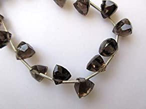 GemAbyss Beads Gemstone Smoky Quartz Faceted Trillion Shaped Briolette Beads, Trillion Shaped Faceted Smoky Quartz Beads, 9mm Each, 8 Inch Strand Code-MVG-48531