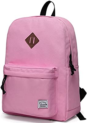 Lightweight Backpack for School, VASCHY Classic Basic Water Resistant Casual Daypack for Travel with Bottle Side Pockets (Pink)
