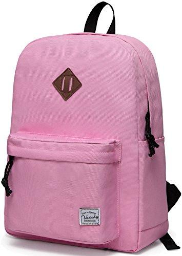 VASCHY Mochilas Escolares,Mochila Niña Resistente al AGU Mochila Mujer Casual Livianas 20 litros Backpack para Juvenil Rosa
