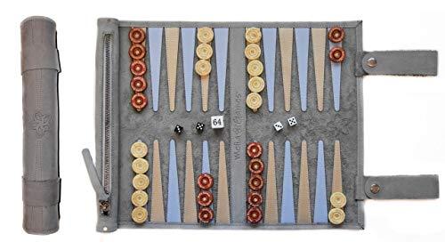 Melia Games Backgammon zum Rollen - Reise-Backgammon aus feinstem Nubuk Echt-Leder mit handgefertigten Holzspielsteinen - Farbe: Grey (Grau)