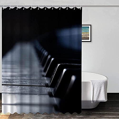 Instrument Duschvorhang Klaviertastatur Weiß Schwarz Duschvorhänge für Badezimmer Graue Textur Wasserdichter Stoff Duschvorhang Set 72x72 Zoll