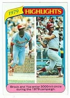Lou Brock and Carl Yastrzemski baseball card (Boston Red Sox) 1980 Topps #1 3000 Hits