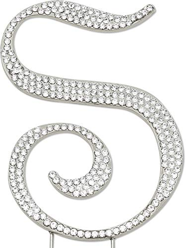 Sparkly Rhinestones Letter S Cake Topper, Birthday Wedding Anniversary Silver Initial S