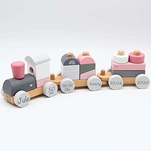 Personalisierte Holzeisenbahn Holzzug mit Steckformen rosa - Personalisiert mit Geburtsdaten und Namen
