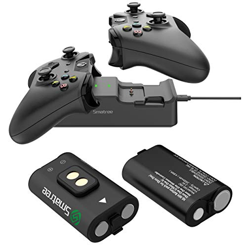 Smatree Controller Charger for Xbox One, Dual Charging Station Compatible for Xbox One/Xbox One X/Xbox One S/Xbox One Elite, High Speed Docking with Rechargeable Battery 2 Packs