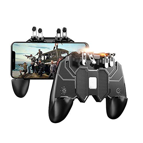 Controlador de juegos for dispositivos móviles, disparadores de juegos for teléfonos celulares Teclas de objetivos sensibles, Game Trigger Joystick Gamepad Grip for Android e iOS Smartphone con 6 dedo