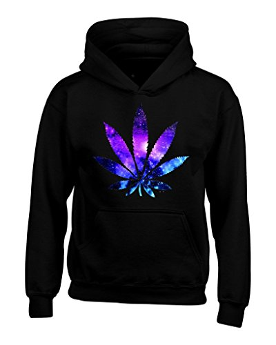 Marijuana Leaf Galaxy Hoodies #61367 Weed Smokers Hoodies Large Black