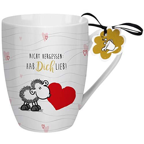 Sheepworld 59608 Lieblingstasse Nicht vergessen hab dich lieb, Kaffee-Becher, Porzellan, 30 cl Tasse