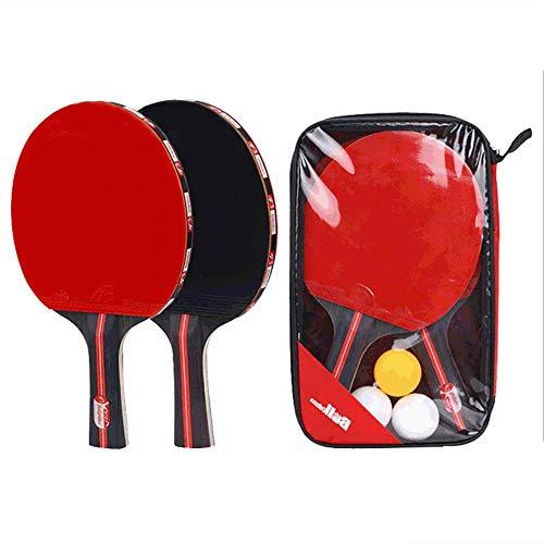Yajun Tenis De Mesa Bat Raqueta Doble Cara Mango Largo Ping Pong Paddle Artículos Deportivos con Bolsa 3 Pelotas para Principiantes