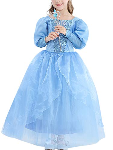 YOSICIL Vestido de Princesa Nia Princesa Disfraz Princesa Cenicienta Disfraz Manga de Soplo Fiesta Vestido Traje Fiesta Navidad De Cumpleaos De Halloween Cosplay Partido 3-9 Aos
