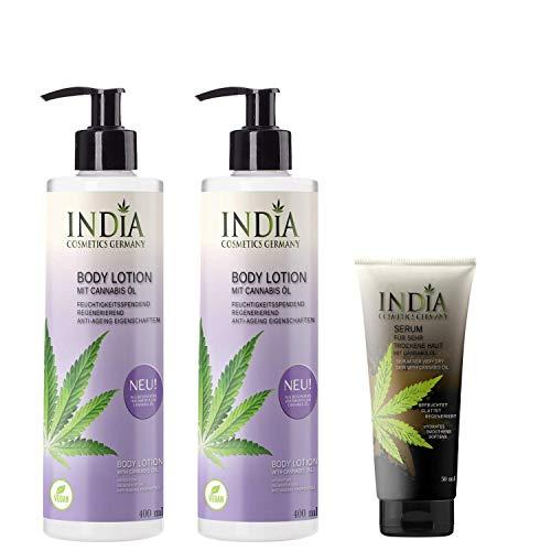 Bodylotion im Doppelpack mit Bio Cannabis Öl. Vegane Premiumqualität ohne Parabene mit 2 x 400ml XXL Größe plus 1x India Hautserum, im Gesamtwert von 45 Euro!