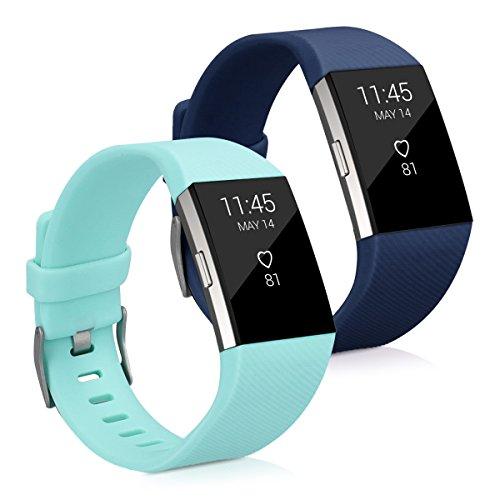 kwmobile 2X Pulsera Compatible con Fitbit Charge 2 - Brazalete de Silicona Azul Oscuro/Menta sin Fitness Tracker