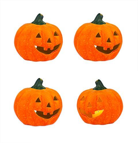 BigDean 4er Set Halloween-Kürbis Windlicht groß - HxD: ca. 13x14 cm - Zierkürbis als Herbstdeko - Aus Keramik - Mit Öffnung für Teelichter - Mottoparty-Deko