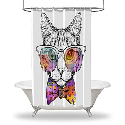 Henge Home Cat Impreso duchas Cortina/Impermeable botón Agujero Ducha Cortinas para Sus Decoraciones de baño de bañera - Gafas de Sol de Gato de VAR