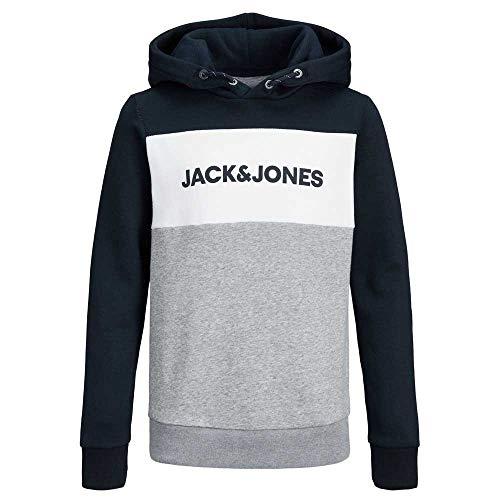 Jack & Jones Junior Herren JJELOGO Blocking Sweat Hood NOOS JR Kapuzenpullover, Navy Blazer, 164