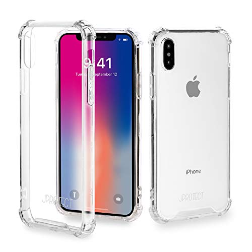 JProtect Hülle für iPhone X/XS Shockproof Bumper | Transparentes Flexibles Stoßsicheres TPU | case Cover Schutzhülle |Perfekte Passform |