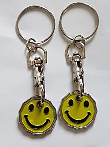 UK Phoenix Einkaufswagenchip 1-Pfund-Form Schlüsselanhänger 12-seitige Pfund-Münze Schließfach Fitnessstudio Einkaufskorb Asda Aldi Lidl Tesco Sainsbury (2 x Smiley)