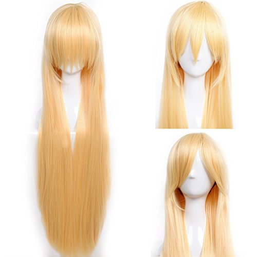S-noilite Cosplay Wigs 40 Inch Long Straight Synthetic Unisex Costume Wig with Bangs and Cap - Golden Blonde