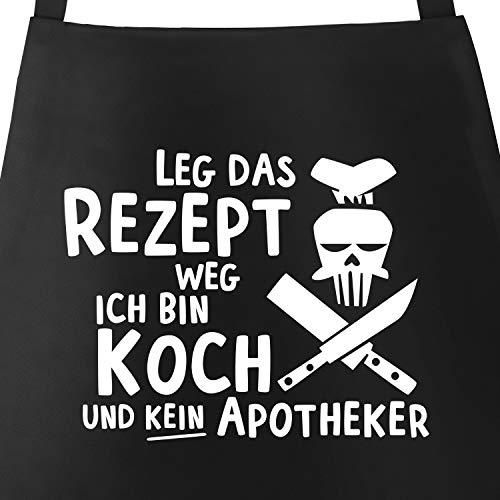 MoonWorks Grill-Schürze für Männer mit Spruch Leg das Rezept Weg ich Bin Koch und kein Apotheker Baumwoll-Schürze Küchenschürze schwarz Unisize