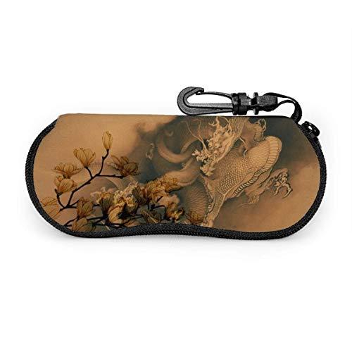 Dragons japonais dans les nuages lunettes de soleil avec boucle de verrouillage sac souple tissu de plongée ultra léger étui à lunettes à glissière