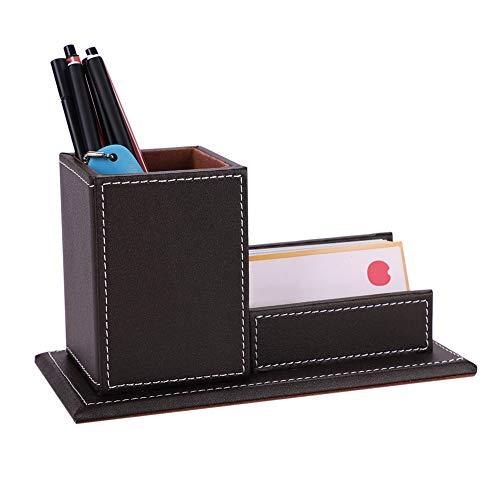 porte-stylo en PU cuadrado caja de almacenaje con una tarjeta de bolsillo organizador del escritorio para lápiz bolígrafo pincel pluma decoración papelería Simple Rectangular, color café 20*10*11CM