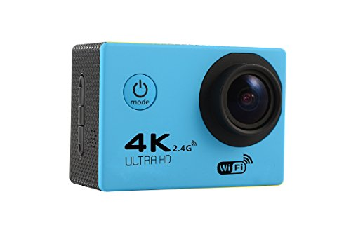 MDTEK@ 16GB TF Card+ HD 4K WiFi Sports Action Camera F60R 2.0 inch Screen 4K 170 Degrees Wide Angle WiFi Sport Action Camera Camcorder with Waterproof Housing Case &Remote Controller (Blue)