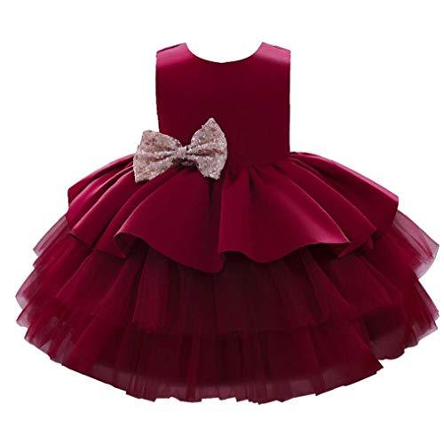 Odoukey Encaje Tutu Kid Partido de los Vestidos de la niña de la Princesa de Tul de Dama Elegante del Arco para el niño 100cm Vino