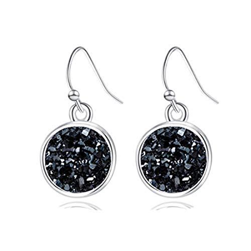 yichahu Pendientes colgantes de resina Drusy Druzy Geometría de moda bañados en plata de cristal Druse Pendientes de marca de joyería para mujer (plata + negro)