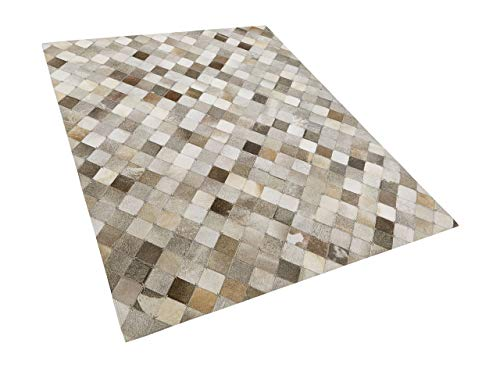 Beliani Alfombra de Piel Patchwork Gris/marrón 160x230 cm BANAZ