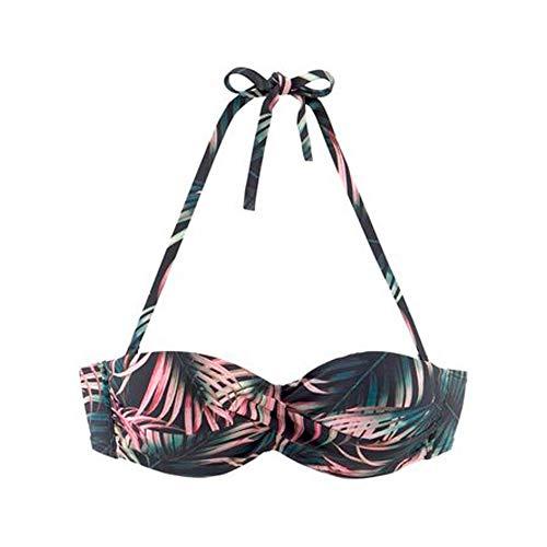 Lascana Damen KAT-102 Top Bügel Bandeau Stretch Floral Bikini Träger binden, Groesse 42B, schwarz/Gemustert