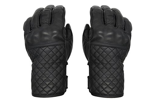 THROTTLESNAKE Elegantes Guantes de Cuero Negro para Moto MAMBA NEGRA † Black Stylish Motorcycle Leather Gloves for Dappered Gentleman (L)