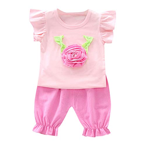 LiLiMeng Toddler Baby Girls Lovely Bow Ruffled Holiday Ruffle Sleeve Letter Tops Vest+Shorts 2PCS Outfit Summer