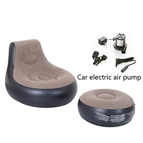 Opblaasbare Recliner Lazy Sofa Bedroom Small Cute Bean Bag Tatami Leisure Balkon Single Reclining Air Bed Recliner 93 * 86 * 73cm (Color : Car electric air pump)