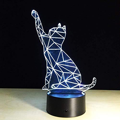 Lindo gato luz de noche 3D ilusión electrónica creativa lámpara 3D led 7 lámpara de mesa táctil USB que cambia de color para niños S regalo