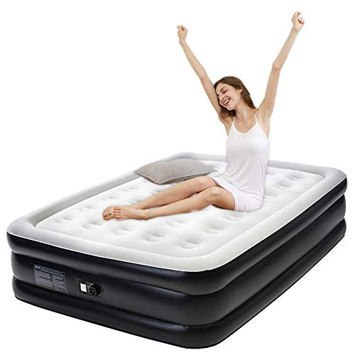 "Tuomico Queen Air Mattress Internal Electric Pump Inflatable Airbed Double Size Blow Up Bed 19"" for Guest Indoor Use Size 80x60x19"""