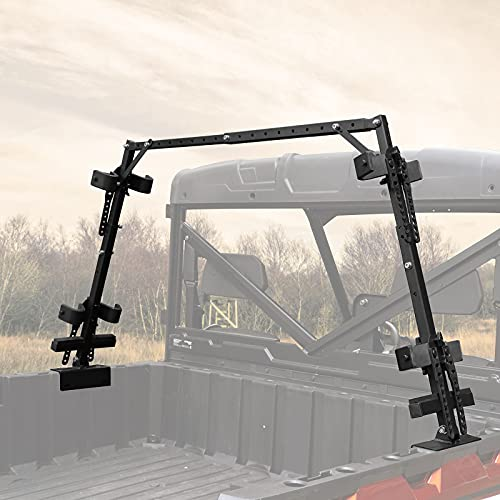 kemimoto UTV Sporting Clays Gun Holders, Universal 4 Gun Bed Rack with Rubber Snubbers Compatible With Polaris Ranger General Can Am Defender Pioneer Side By Side