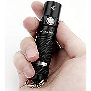 Sofirn SP10S Mini Klein Taschenlampe, Schlüsselbundlicht 800 Lumen mit Samsung 90 CRI LH351D EDC 6 Modi mit AA-Batterie oder 14500-Batterie (Ohne Akku)