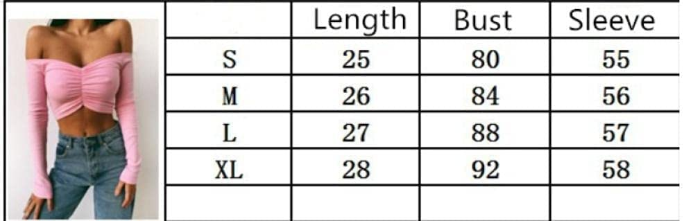 HSHUIJP Sexy Tops for Women Autumn Spring Sexy Off Shoulder Knitted V Neck Crop Tops Women Long Sleeve Solid Color Skinny Club Fashion Casual Short T Shirts Women, s Vests