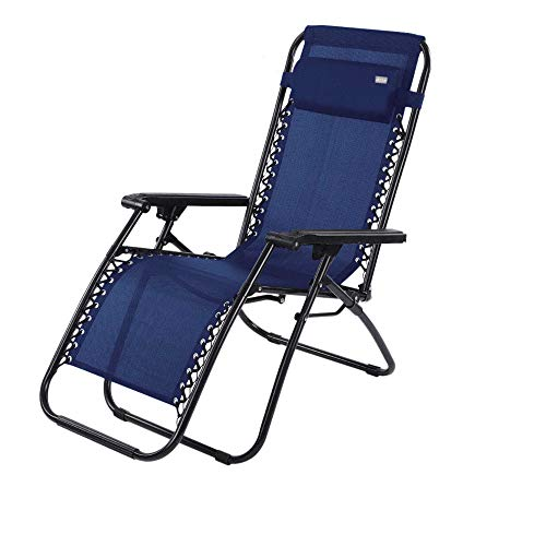 AKTIVE 62190 Blue Zero Gravity Lounger Recliner and Folding Beach, Textilene, Navy, 65 x 178 x 110 cm