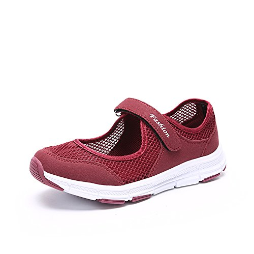 Damen Outdoor Fitnessschuhe Atmungsaktive Mesh Schuhe Sport Slipper mit Klettverschluss, Rot, 42 EU