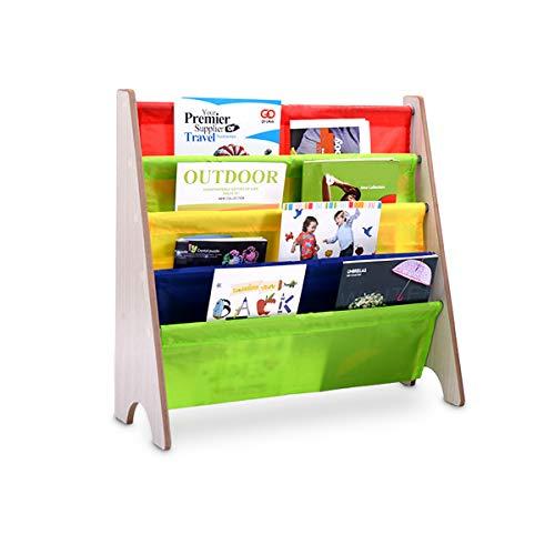 GIANTEX Kinder Bücherregal, Hängefächerregal Holz, Büchergestell Zeitungsständer mit 4 Ablagefächern, Bücher Aufbewahrung für Kinderzimmer (Natur)