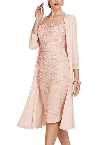 ShineGown Mutter des Bräutigams Kleider Damen 2 Stück Knielangen Spitze Chiffon Brautkleid.