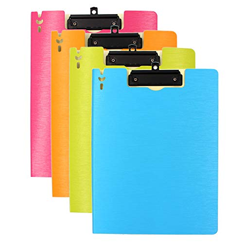 M-Aimee 4 Pack Clipboard Folder, Arch File Cover Folder Clipboards,Letter Size or A4 Size (Colorful)