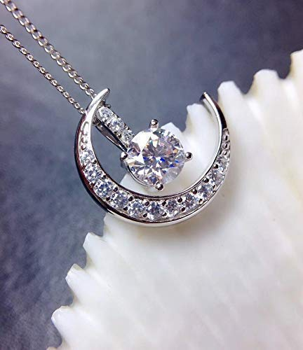 Sterling Silver With 18K White Gold Plating Handmade Engagement Gift  For Women Her 1 Carat Moissanite Pendant Necklace Free Chain