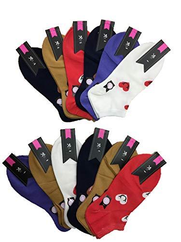 BestSale247 12 Paar Damen Mädchen Sneaker Socken Füßlinge Baumwolle (Muster 3, 35-38)