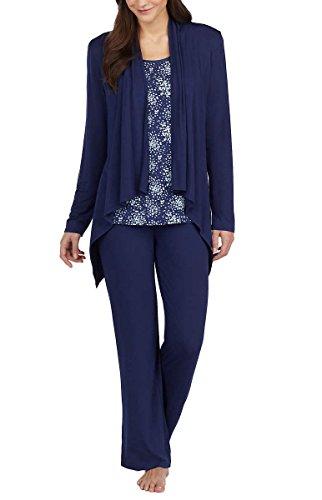 Carole Hochman Midnight Ladies' 3-Piece Pajama Set (XS, Blue)